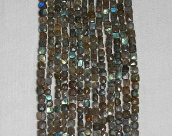 Labradorite, Labradorite Cube, Faceted Cube, Labradorite Bead, Semi Precious, Gemstone Bead, Natural Stone Bead, Grey Bead, Strand, 7-8mm
