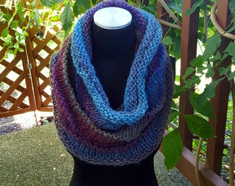 Hand Knit Infinity Cowl Scarf in Blue and Purple