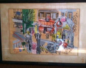 Vintage art Paris scene 2 mixed media by Charles cobelle