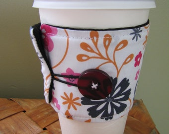 Pink Flowers Sleeve Cup Cozy