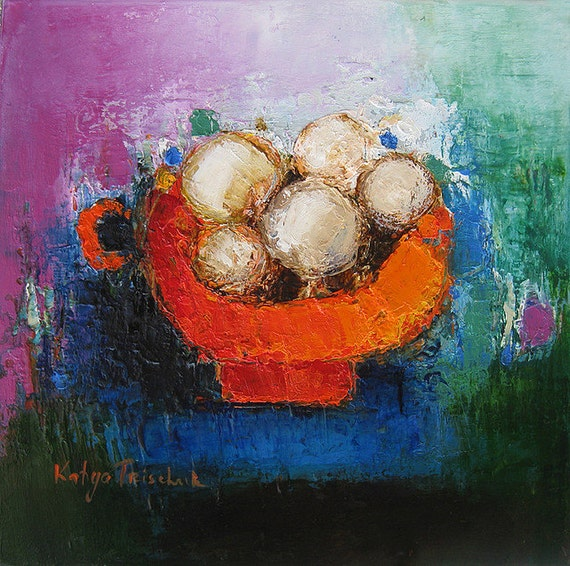 Original Oil Painting Turquoise and orange ~ small Oil on canvas 12x12 ~ bowl ~ modern still life ~ fine art on Etsy Canada ~ art for less
