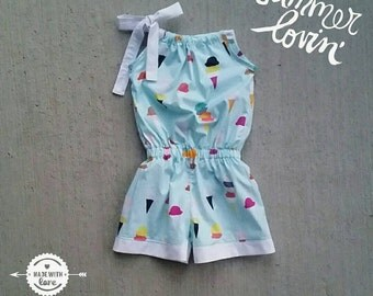The Summer Lovin' Romper - Size 3 Months Up to 8 Years - Flamingo or Ice Cream - Handmade Romper