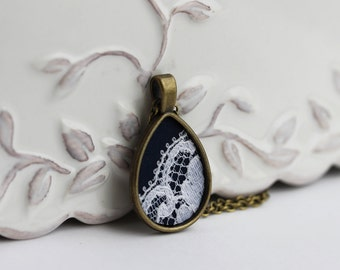 Dark Navy Teardrop Necklace, Navy Blue Lace Jewelry, Navy and White Wedding Lace Necklace, Boho Navy Blue Pendant, Small Unique Gift for Her