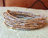Precious Metals Gold, Silver and Crystal Long Seed Bead Stretch Bracelet, Necklace