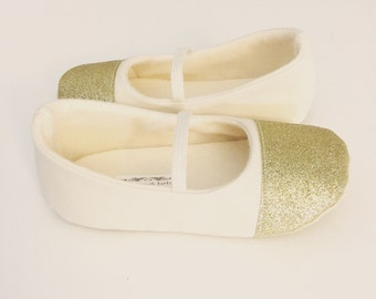 Baby Girl Shoes Toddler Girl Shoes Wedding Girl Shoes MORE COLORS AVAILABLE Modern Girl Shoes Birthday Girl Shoes Glitter Gold Cap Toe -Nova