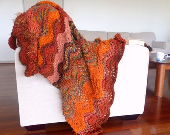 Hand knitted blanket rug Thick brown blanket Chunky knit Blanket Home decor orange knit throw blanket