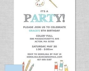 ART-themed birthday party invitation - art supplies - kids art party - printable