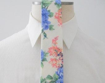 Serenity Blue and Roze Quartz Floral Linen Tie