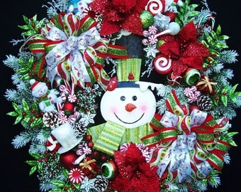 Smiling Snowman Christmas Winter Holiday Wreath Lime Green and Red