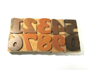 """Vintage Wooden Letterpress Type Blocks YOUR CHOICE 2"""" Wood Letterpress Type Numbers 1-0 Home Decor Assemblage Supplies (F82)"""