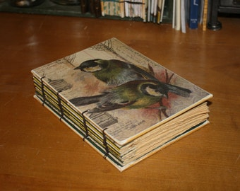 Birds Journal, Bird Enthusiast book,  watcher book, Wedding guest book, baby book, handmade Gift, vintage inspired journal, bound book