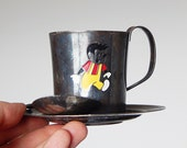 child cup saucer set with spoon colorful cartoon cup with saucer and spoon