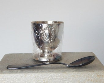 SALE 20% french christening set egg cup vintage french egg cup and spoon