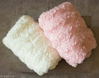 Newborn Posing Fabric, Ivory and  Pink Backdrop, Newborn Props, RTS, Rose Backdrop, Newborn Props, Girl Props, RTS Props, Bean Bag Cover