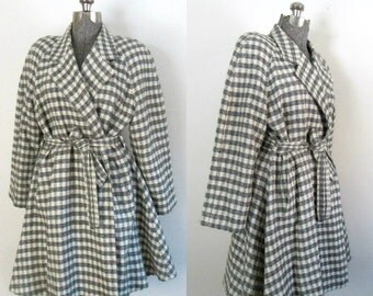 1940s Wrap Swing Coat // Gray Check Houndstooth Wool Wraparound
