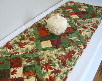 Fall Autumn Quilted Table Runner Turning Leaves Pine Cones Woodland Quiltsy Handmade FREE U.S. Shipping