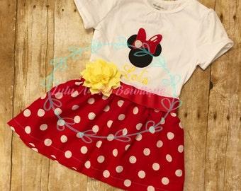 Minnie Mouse dress, Disney dress, pink polka dot dress, Disney dress, Birthday dress