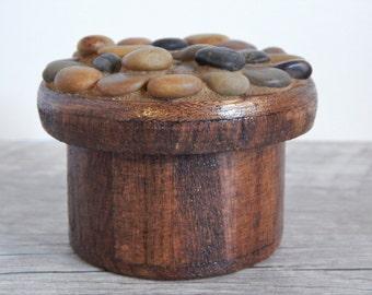 Polished River Stone Mosaic Trinket Box Round