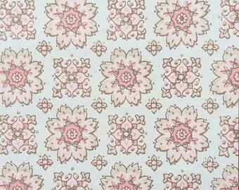 Vintage Wallpaper Pink Beige Gold Floral Geometric 1950's - 1 Yard