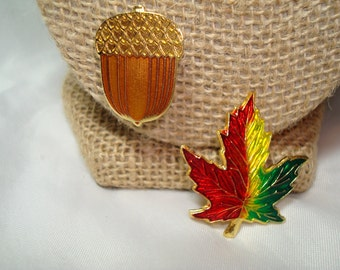 Fall Enameled Maple Leaf and Acorn Pins.