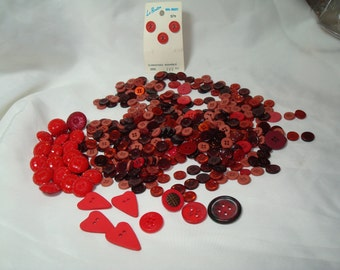 Nice Grouping Of RED Vintage Buttons.