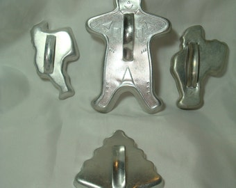 1950s 1960s Aluminum Christmas Cookie Cutters.