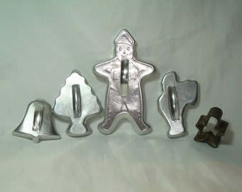 1960s Silver Aluminum Christmas Cookie Cutters.