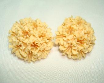 1950s Peachy Orange Carnation Like Earrings.