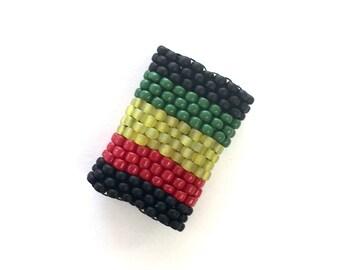 Peyote Stitch Rasta Dreadlock Bead - For Small Locks - Basic Rasta Stripe