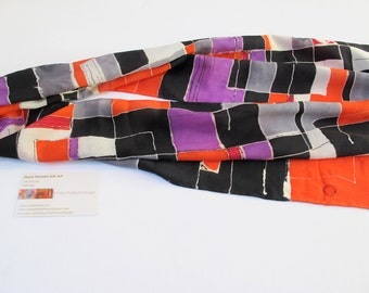 Scarf Abstract Red, Purple, Black and White Hand-Painted Original Design on Crepe De Chine Silk
