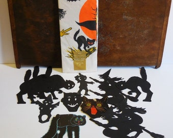 Vintage lot Halloween decorations Table cover 60 x 102, Black Cat Witch broom Monster cut outs Window decor Variety