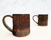 Wood Grain Pottery Mug - Dark Brown + Green Ceramic Mug