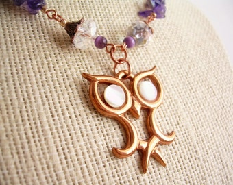 Amethyst and Copper Owl Necklace ~ Vintage Pendant, Natural Stone, Owl, Gift for Her, Statement Necklace