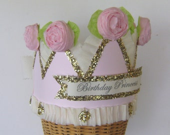 Princess Birthday Crown, customize, Girl Birthday Hat,  adult or child