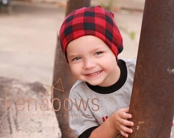 Slouchy Beanie Hat, Buffalo Plaid, Red, Black, Hipster Slouch Hat, Urban, Trendy Hat, Toddler, School Beanie, Newborn Hat, Birthday Gift