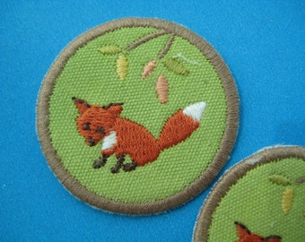 2 pcs Sew-on embroidered Patch Fox 1.5 inch