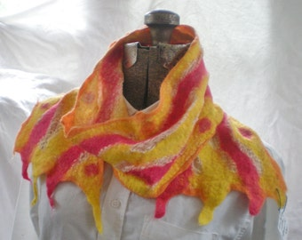 Nuno Felted Scarf, Alpaca Wool and Cotton Gauze yellow red orange, summer scarf