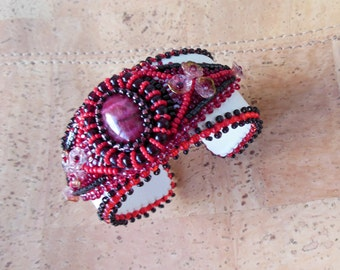 Cuff bracelet White genuine leather Hand stitched Red Rhodochrosite cabochon Hand Embroidered