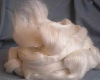 Ashland Bay 50/50 Ecru Merino & Cultivated Bombyx Silk for Spinning, Felting, or Dyeing  4 oz.