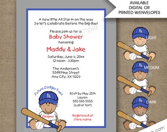 LA Dodgers Baby shower invitations, light medium dark skin tone, baseball baby shower invites, boy baby shower invitations