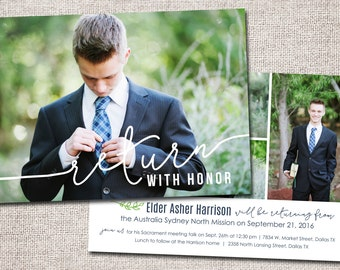 LDS Missionary card, Missionary invitation, Missionary homecoming (Missionary homecoming invitation 2-sided)