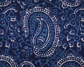Blue Paisley Block Print Cotton Fabric - 1 yard