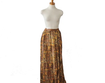 Vintage 90s Ethnic Print Skirt // Women 14 16, full length // Elastic Waist, lined
