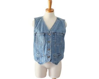 Vintage 90s Liz Claiborne Lizwear Jean Denim Shirt Vest - Sleeveless Crop Fit - Women M