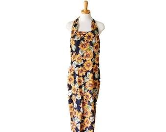 30% off sale // Vintage 90s SUNFLOWER Sun Dress - Women Medium - Floral Pattern, RJ Stevens for Carol Escritor