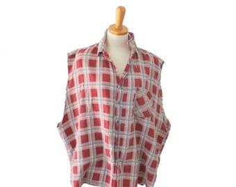 sale // Vintage 80s Cut Off Sleeveless Flannel Shirt // men 2xl xxl // Rust Brown Plaid Punk Grunge, Prestige Global