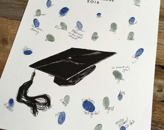 Graduation Party gift, thumbprint confetti, graduation cap, Alternative guest book, similar to wedding fingerprint tree (with 2 mini inks)