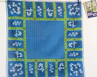 Vintage Cotton Handkerchief in Blue and Green