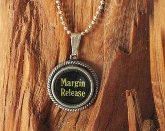 Margin Release Vintage Typewriter Key Necklace Pendant