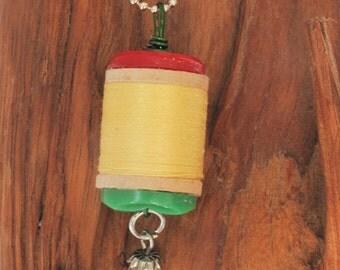 Miniature Wooden Spool Necklace Pendant